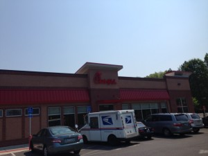 Stopping at the Chick-Fil-A before lunch, when I could still hear well enough to place an order.