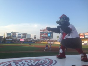 Ferrous, the mascot, putting a hex on the Pawtucket Sox as they batted.